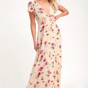 Lulu's Cream/Floral Print Maxi Dress (With Tags)